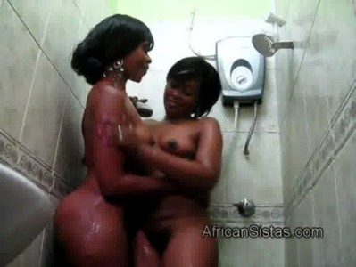 2 Amateur African lesbians take hot shower together