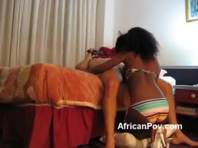 Young petite African Maria blows big white rod in homemade